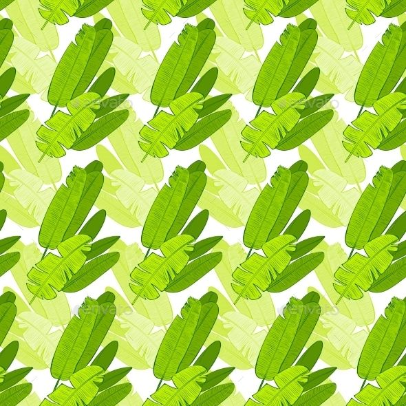 Seamless Green Leaves Floral Pattern Vector