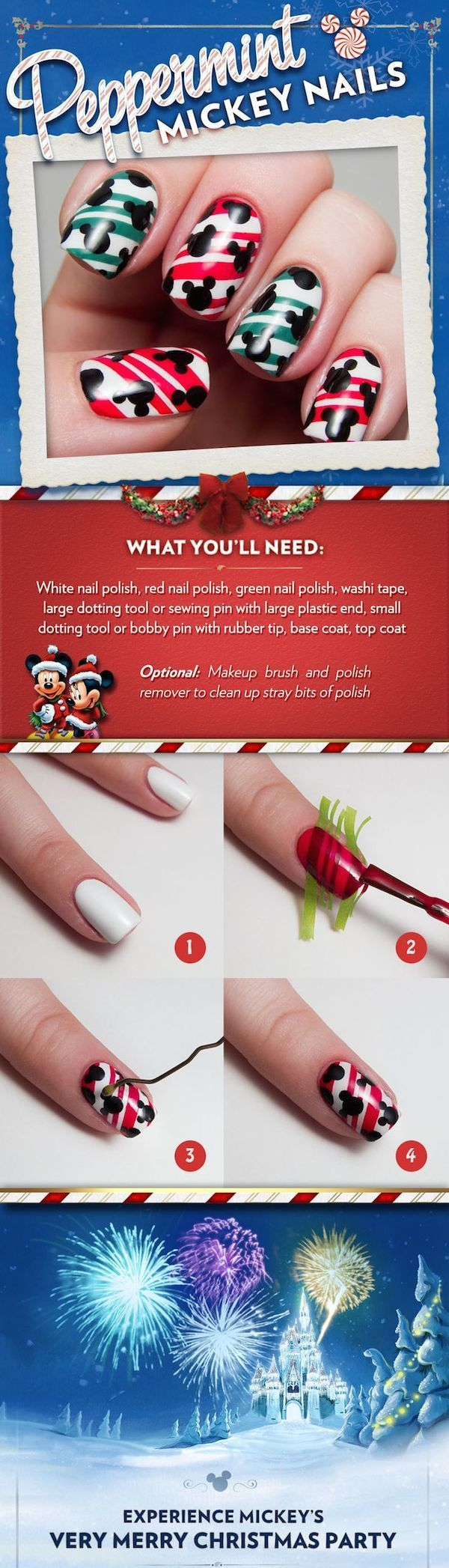 "Heading to a holiday party this season? Or better yet, are you spending the holidays here at Walt Disney World Resort? If your answer to either question is ""yes,"" then consider adding this ""Peppermint Mickey"" nail design into your holiday look."