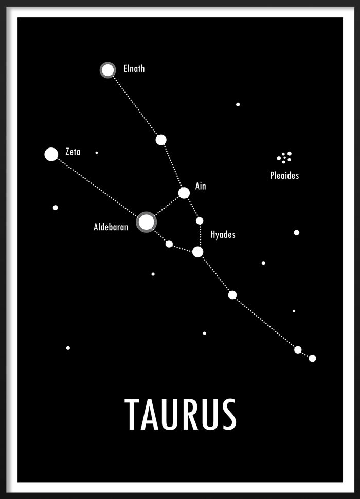 Black and white poster of the zodiac sign Taurus  #blackandwhite #modern #scandinavian #interior #geometric #zodiac #astrology #sign #taurus #illustration #poster