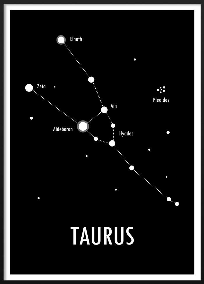 Black and white poster of the zodiac sign Taurus  #blackandwhite #modern #scandinavian #interior #geometric #zodiac #astrology #sign #taurus #illustration #poster