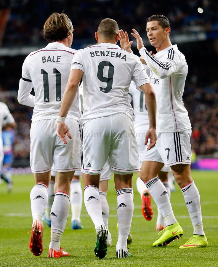 Gareth Bale Of Real Madrid Celebrates With Teammates Karim Benzema And Cristiano Ronaldo After Scoring The