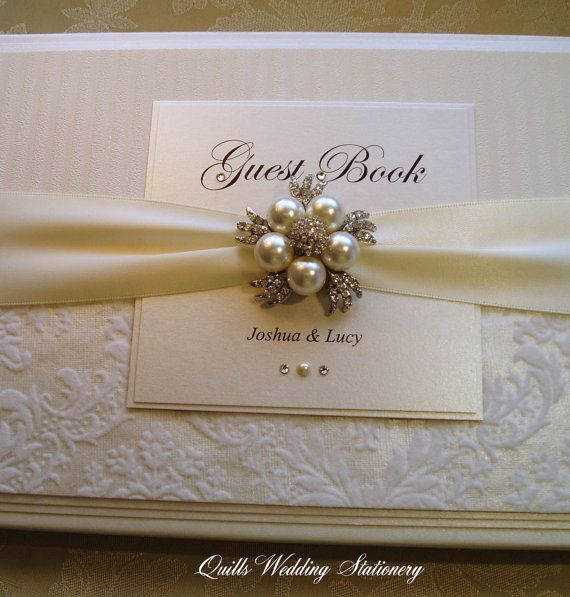 Luxury Personalised Wedding Guest Book. Bespoke. Different Colour Options Available for Satin Ribbon