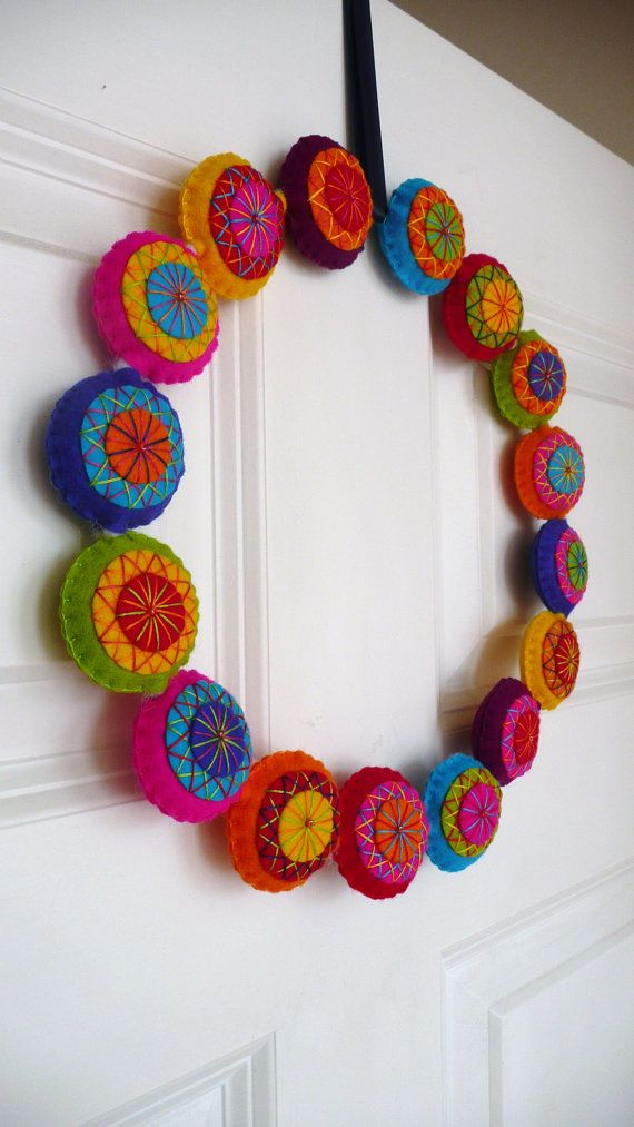 Colorful felt christmas wreath - made to order.