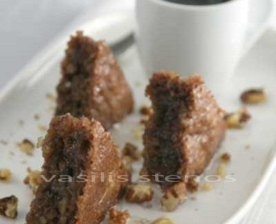 Karydopita is Greek walnut cake, flavored with cinnamon and made with olive oil.