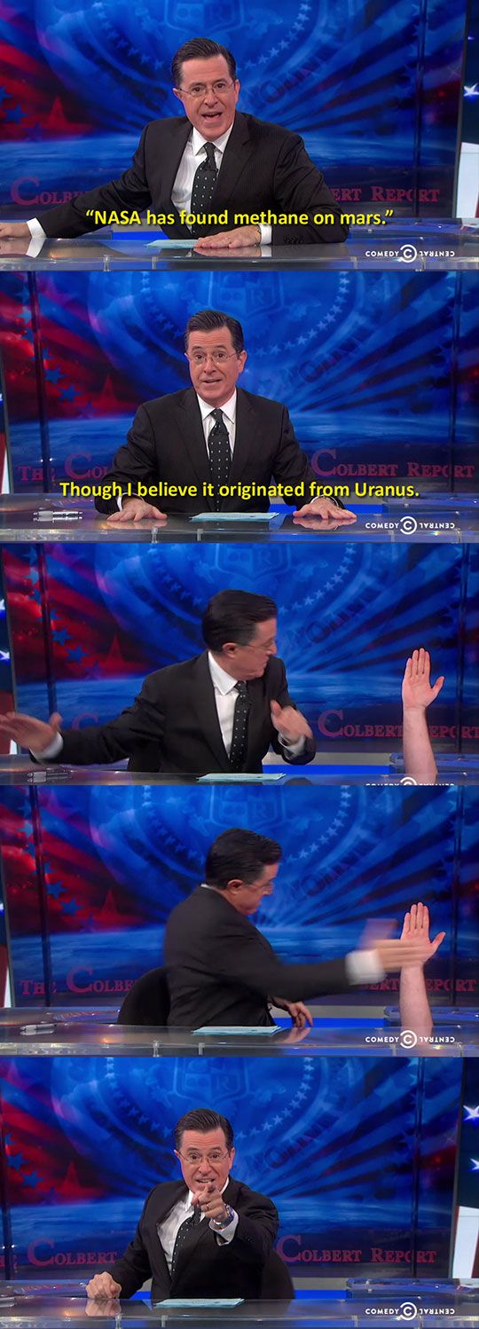 Colbert could have auctioned off the chance to hide under his desk and high five him.  I would have bid big time.  Best charity donation I could ever make !!!   kc