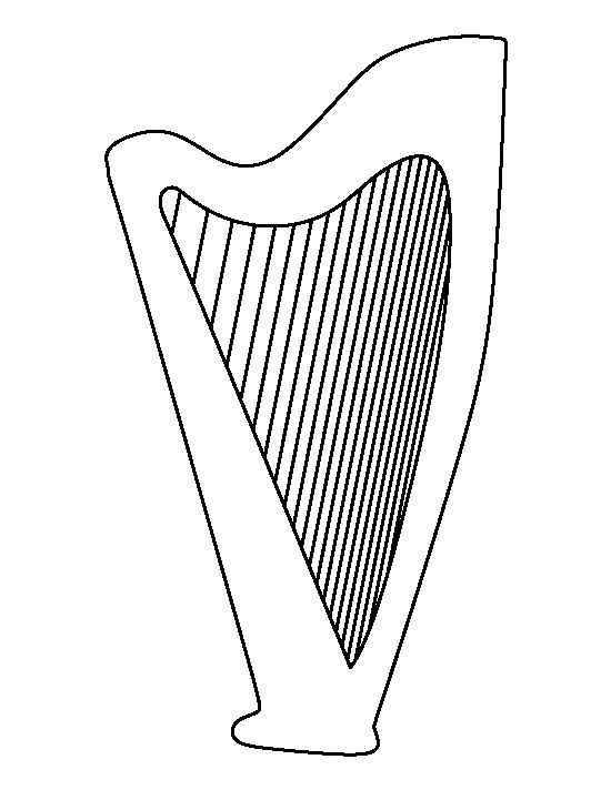 Harp pattern. Use the printable outline for crafts, creating stencils, scrapbooking, and more. Free PDF template to download and print at http://patternuniverse.com/download/harp-pattern/