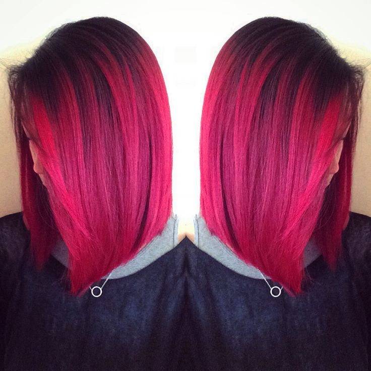 Shadow root magenta and wild orchid pravanna haircolor. Fun color for spring. Edgy and pretty