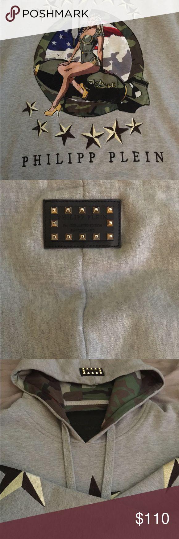 Phillipp Plein army hoodie Perfect condition, one of a kind piece, fair price. Philipp Plein Tops Sweatshirts & Hoodies