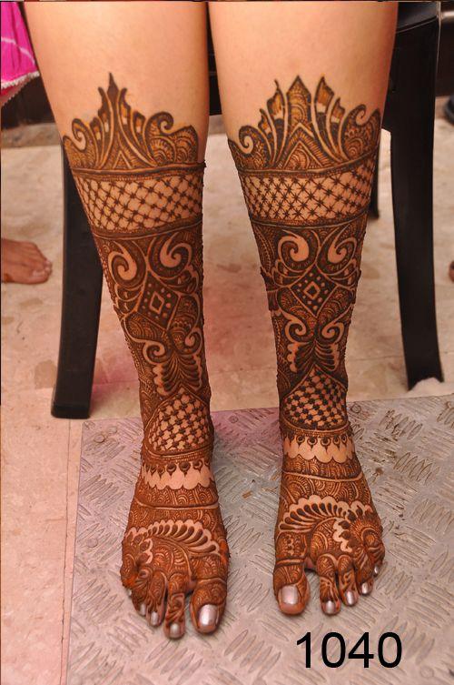 bridal henna mehndi leg design