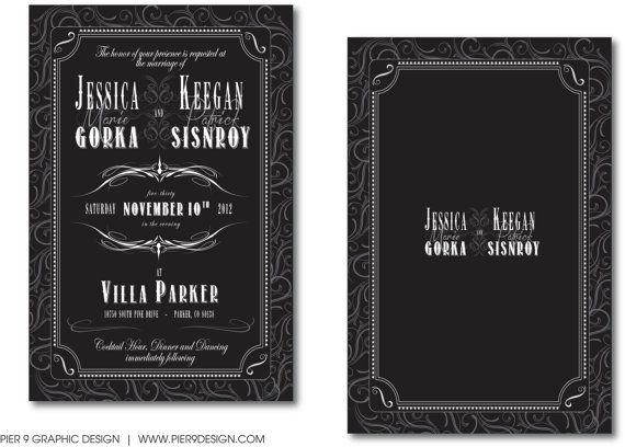 An Elegant Vintage Black #WeddingInvitation by Pier9GraphicDesign, $2.25