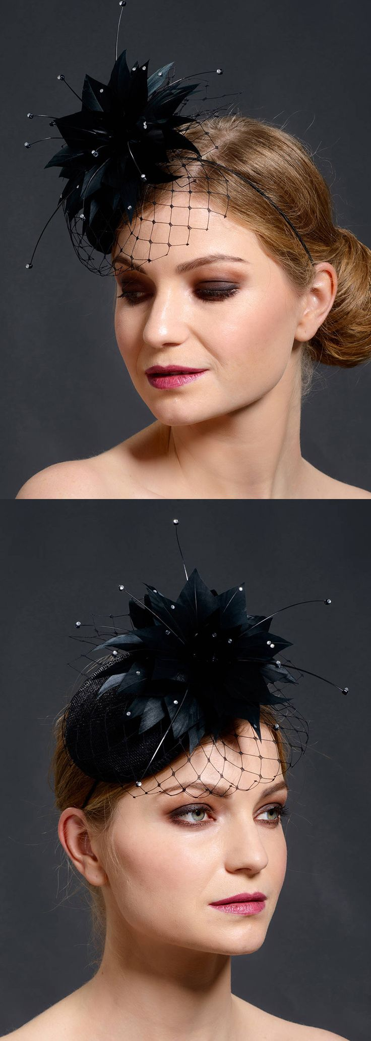 Black small pillbox hat with small face veil trimmed with stunning hand-made feather flower. Feather flower is decorated with silver colour rhinestones. Perfect for Winter Christmas Wedding guest idea. #bride #winterwedding #christmaswedding #newyearwedding #bridalaccessories #whattowear #weddingguest #cocktailhats #millinery #affiliatelike #fascinators #blackhats