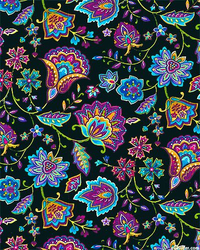 Miraval - Folk Art Paisley Flowers - Quilt fabrics from www.eQuilter.com