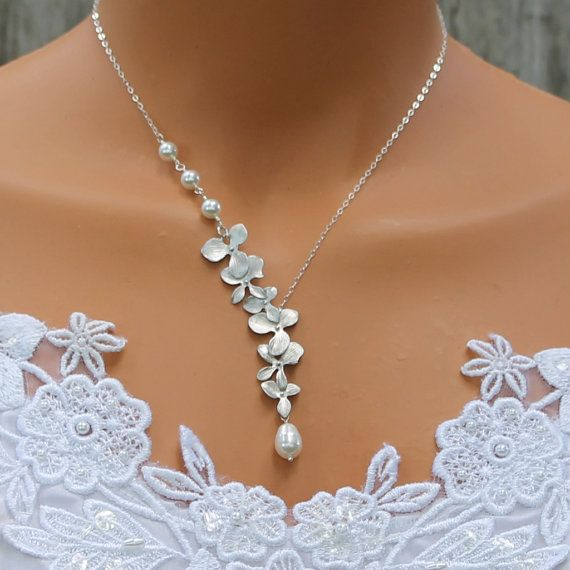 Silver Orchid Necklace Pearl Necklace . Wedding by LadyKJewelry