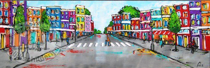"""Schilderij """"stadsgezicht"""" 150 x 50 cm - Vrolijk Schilderij"""