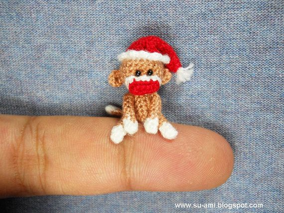 Sock Monkey With Santa Hat  Micro Miniature Crochet by suami. Too cute!
