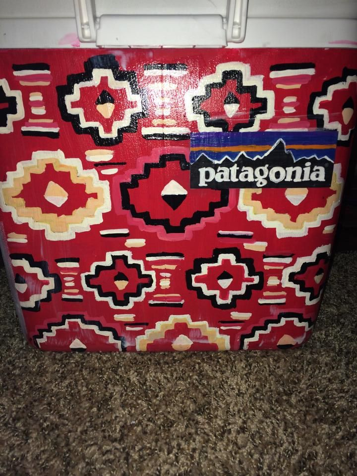 fratagonia patagonia pattern red cooler  ~cooler connection on facebook