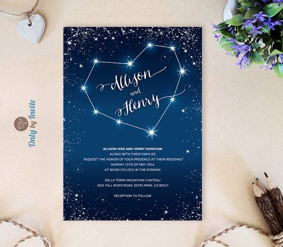 Printed Wedding Invitations cheap  Starry night by OnlybyInvite