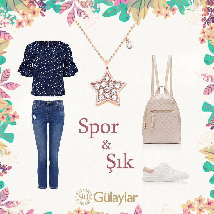 Spor & Şık... http://glylr.com/yildiz_kolye #90yildirbitmeyenask #gulaylar #gununkombini #spor #jean #kombin #yildizkolye #rosegold #style #chic #jewellery #star