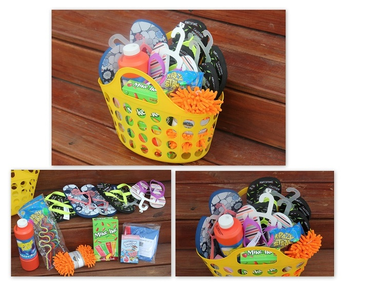 Fun gift basket idea using Dollar Store items (summer fun theme)