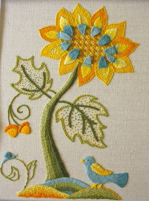What a cheerful embroidered flower.