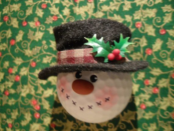 Recycled Snowman Golf ball Ornament by Suzyscreations2 on Etsy, $8.00
