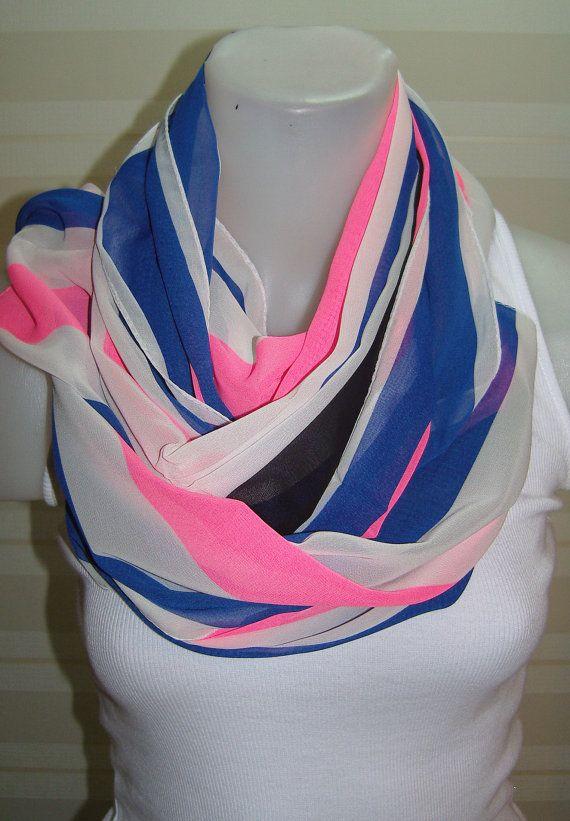 ON SALENeon Pink Chiffon Scarf Women ScarfLoop Scarf by BalMelek, $12.90