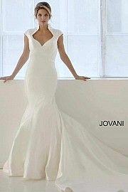 Cap Sleeve Collared Wedding Gown JB26210