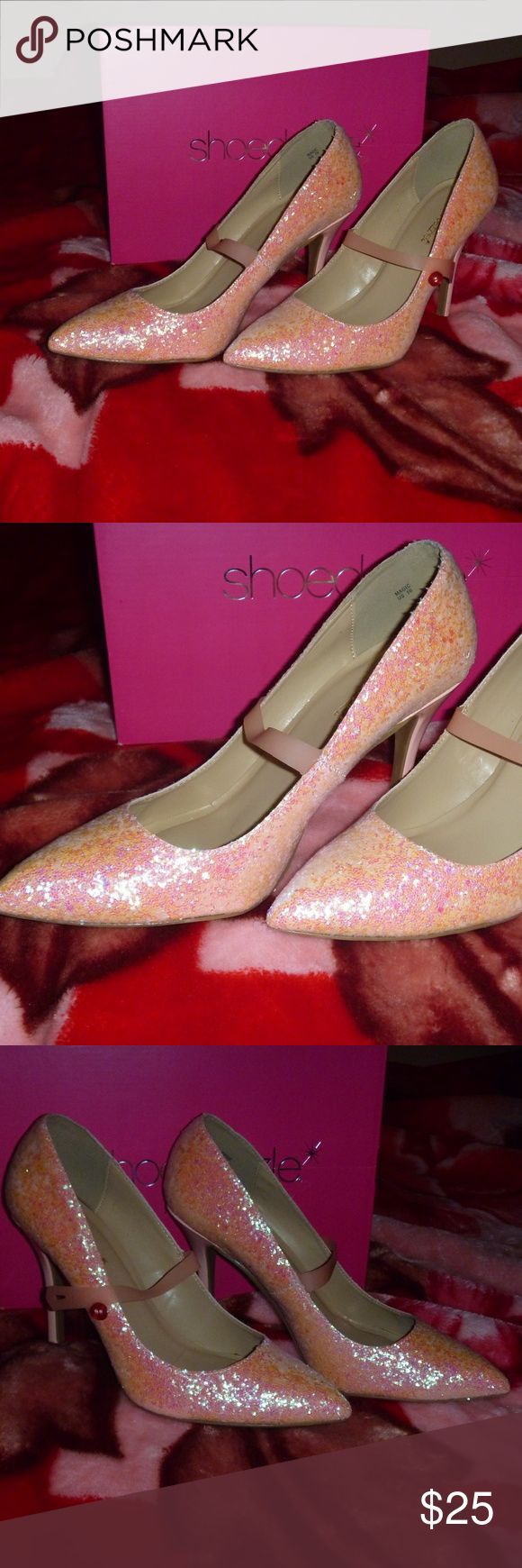 "Shoe Dazzle Pink Glitter Heels Size 10 Welcome! This magnificent pair of heels by Shoe Dazzle is sure to turn heads. Barely used, these 4"" heels shine and sparkle in nearly any ambiance. Easily my favorite pair of heels, but I must part with them at this time. Come fully packed within original box, size 10. Shoe Dazzle Shoes Heels"