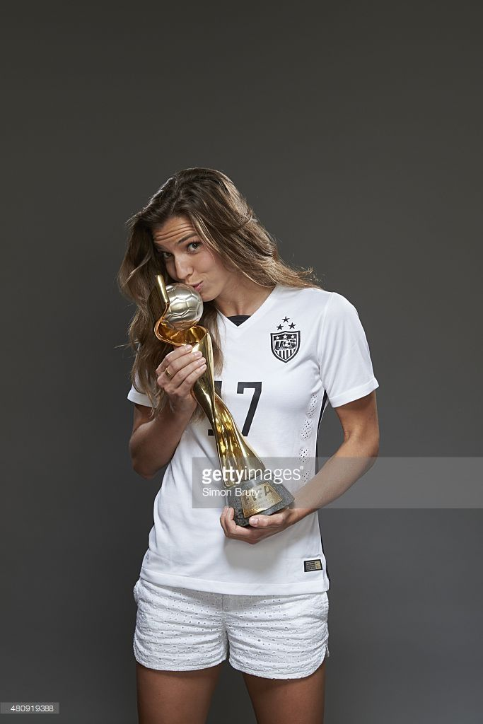 Portrait of US Women's National Team midfielder Tobin Heath (17) holding trophy during photo shoot at ABC News' Good Morning America Studio. Cover. New York, NY 7/10/2015