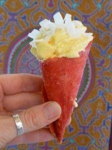 Dehydrated Watermelon Cones w/ Mango Sorbet (watermelon cones become crispy & crunchy when it contacts the frozen ice cream)