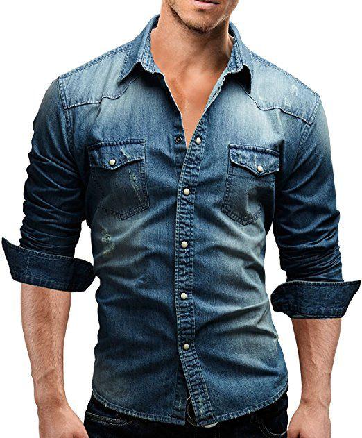17 meilleures id es propos de chemise en jean homme sur. Black Bedroom Furniture Sets. Home Design Ideas