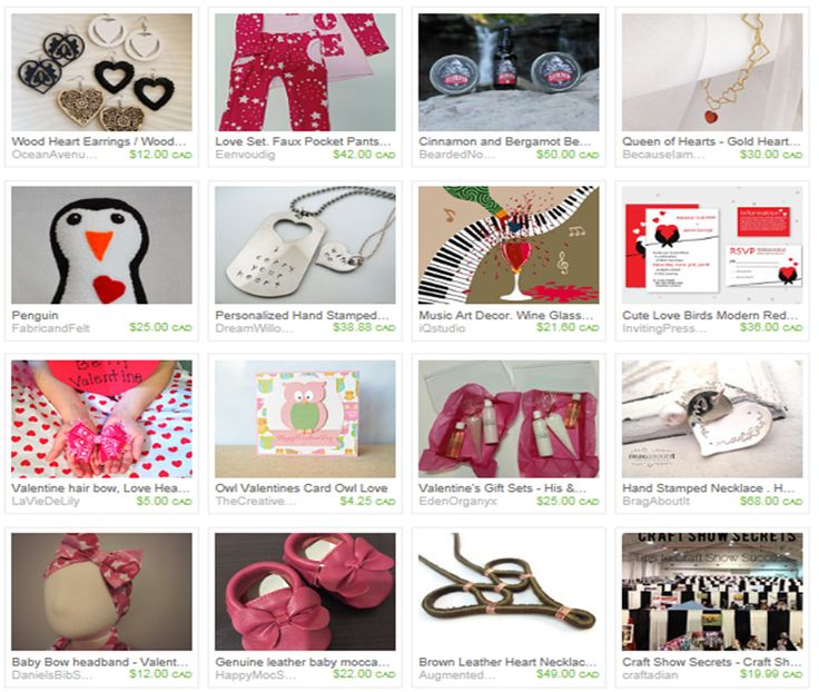 #Craftadian Etsy Treasuring - featuring Valentine's Day & Heart theme products from local artisans.  www.craftadian.ca