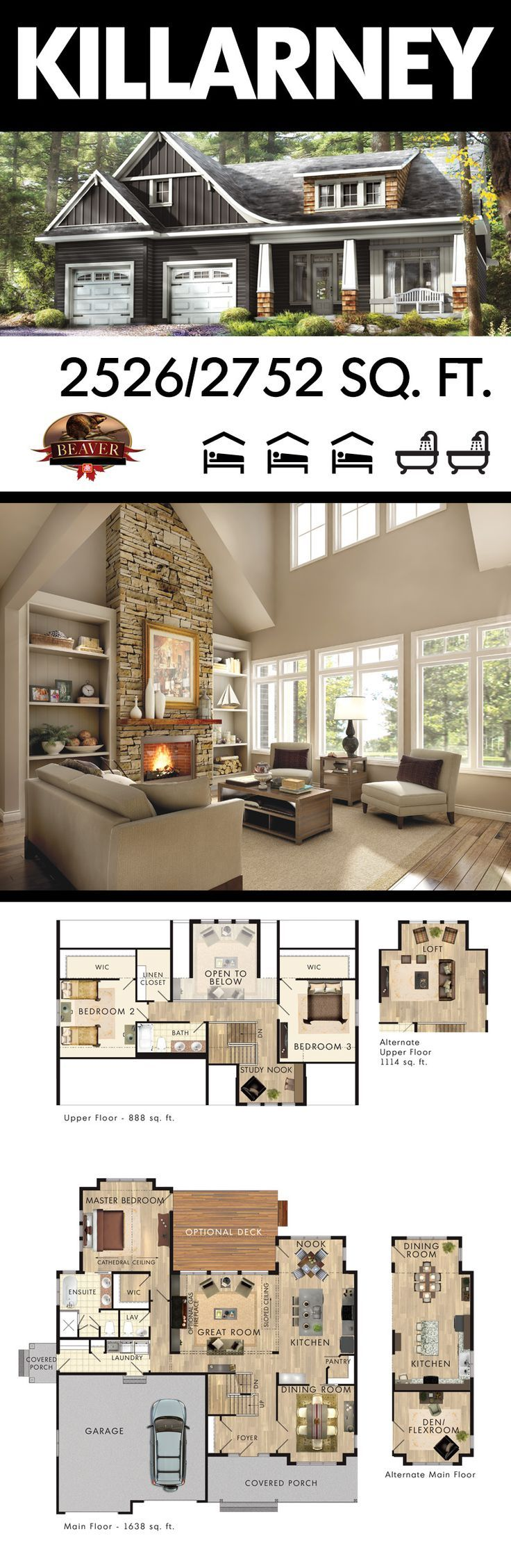 #BeaverHomesAndCottages introduces a large family home that has an alternative floor plan. The versatile Killarney offers a choice of layouts.