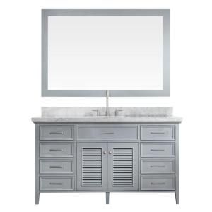 Ariel Kensington 61 in. Vanity in Grey with Marble Vanity Top in Carrara White with White Basin and Mirror D061S-GRY at The Home Depot - Mobile