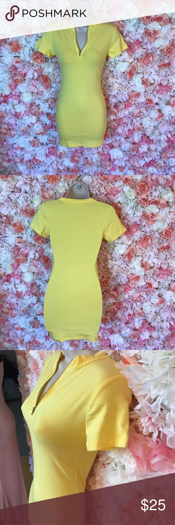 Yellow t shirt dress Can be worn zipped up or down for comfort. Pair with your favorite sneakers for casual look or heels for a night out Dresses Mini