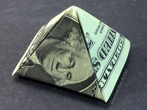 Dollar Bill Money Origami PYRAMID with Square Base. Designed by Jeremy Shafer.