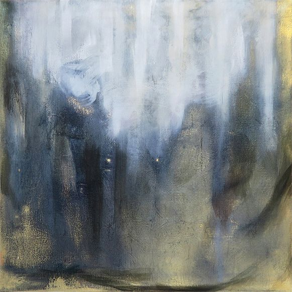 Payne, 60x60cm, oil on metal gilded canvas