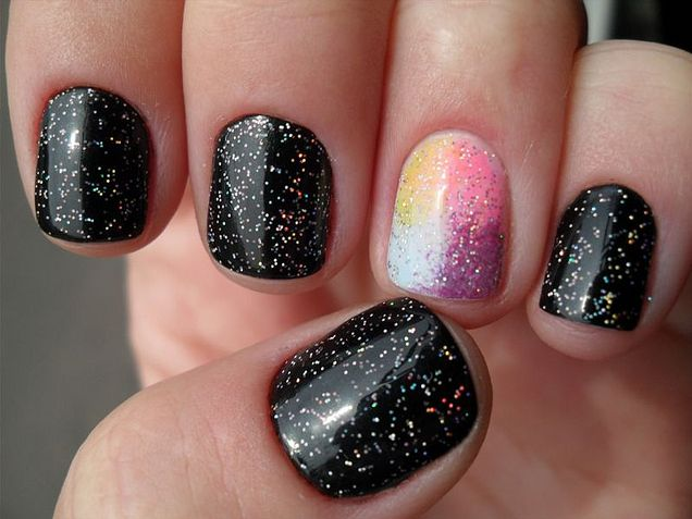Black with colorful glitter and multi-colored with colorful glitter