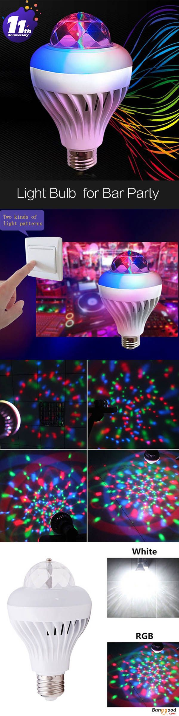 US$4.99 + Free shipping. Colorful 5W E27 Voice Control White RGB Crystal Ball LED Stage Light Bulb for Disco Bar Party. Power: 5W.  Light Color: RGB/White >>> To view further, visit now.