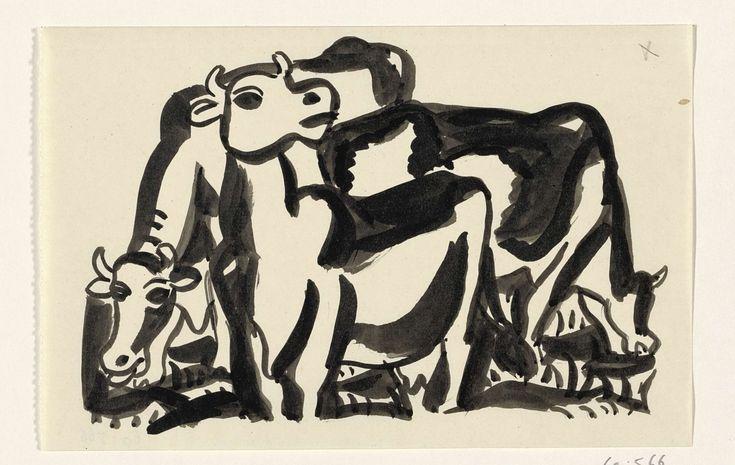 Ontwerp voor een vignet: voorstelling met drie koeien, Leo Gestel, 1891 - 1941