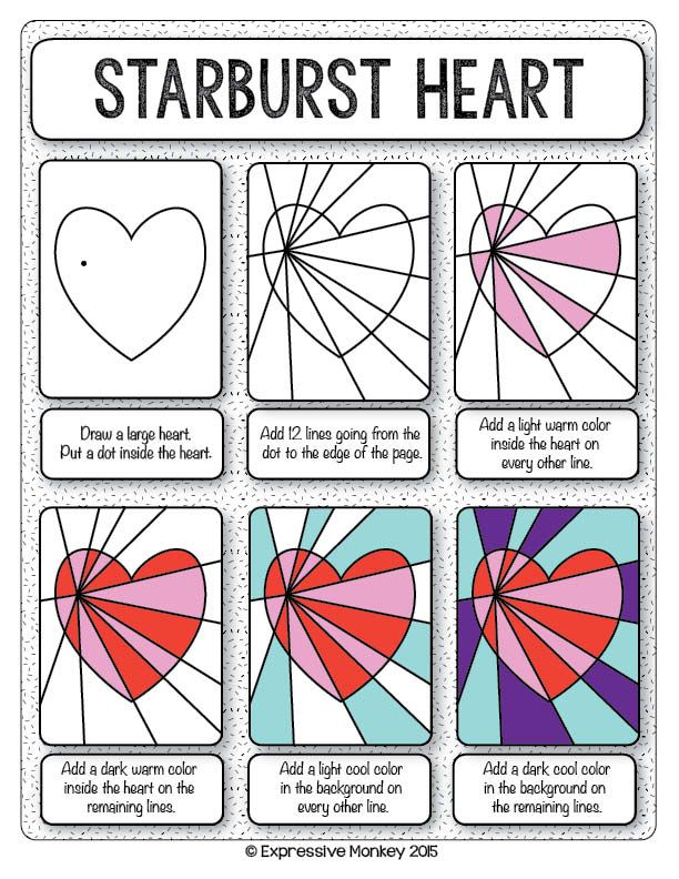 Make this Op Art Heart with step-by-step instructions.  Finish with marker or your choice of media.  Send some Heart Art for Valentines.