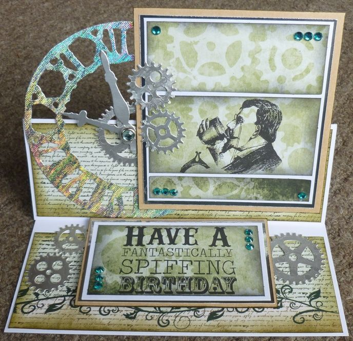 Steampunk birthday card, using papermania chronology papers and toppers, tim holtz sizzix weathered clock