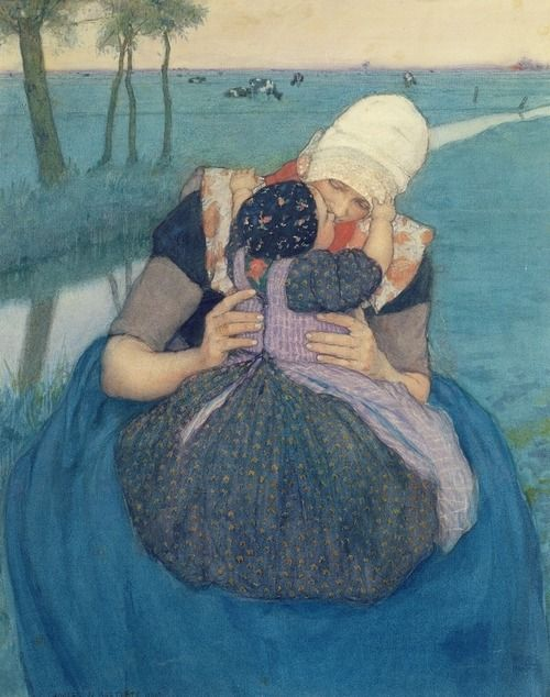 the colour in this is amazingly beautiful   Mother and Child,, Charles William Bartlett