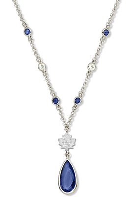 "Toronto Maple Leafs Crystal Necklace - this will be my ""something blue"" if I ever get married!!"