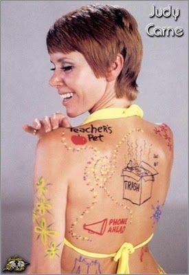 In the 60's it was washable body paint, now they just tattoo themselves. Loved watching Laugh-in when my parents would let me.