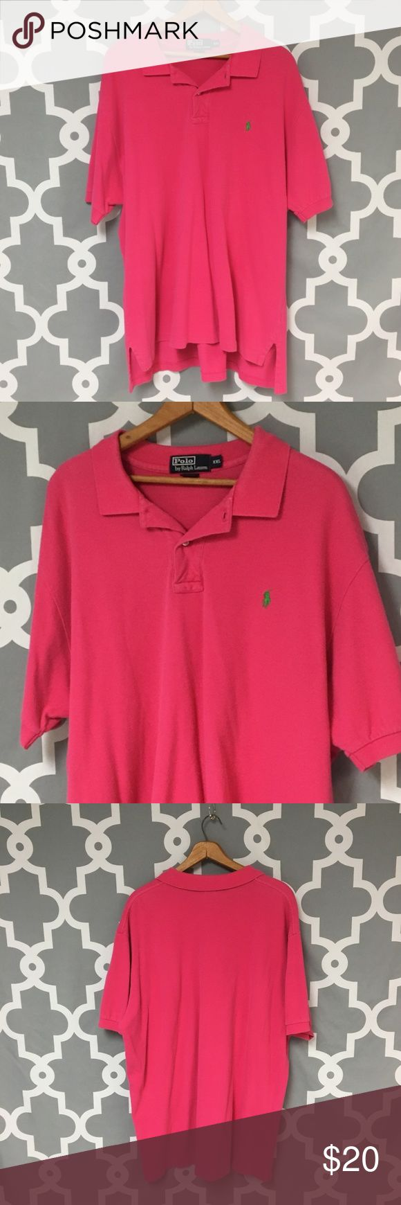 Polo Ralph Lauren Pink Polo Shirt 🔘Description: Polo Ralph Lauren Pink Polo Shirt men's size XXL good used condition    🔘Measurements:   Pit to Pit: 27 inches               Inseam: 32 inches                                                        Inventory: F   If you have any questions please feel free to let me know!                                Thanks for stopping by! Polo by Ralph Lauren Shirts Polos