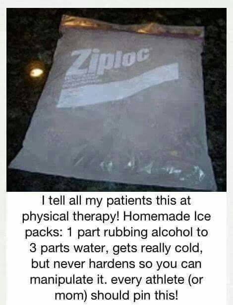 Ice pack instructions using H2O and rubbing alcohol.