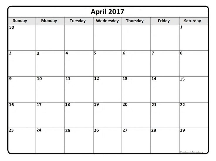 April 2017 Monthly Calendar Template | 2017 Printable Calendars