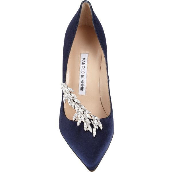 Manolo Blahnik Nadira Jeweled Pumps (1 435 AUD) ❤ liked on Polyvore featuring shoes, pumps, heels, navy blue satin shoes, slip on shoes, jeweled pumps, heels & pumps and navy shoes