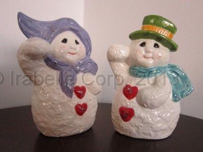 Ceramic snow people (2pc set) by Tulipe Studios. See more at:  https://www.facebook.com/TulipeStudios